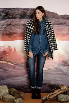 Outfit from the Nümph Pre Fall 2014 collection. 7714012 New Luella Denim Shirt 7714271 Nori Black and White Knit 7714506 Mckinny Jeans