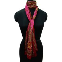 Red Pure Silk Scarf Floral Pattern Women Stole Beach Wear Wrap India 70?X 20? ..this is img