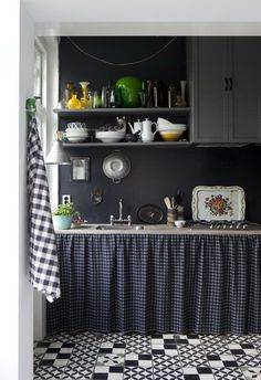 like open shelves covered with fabric