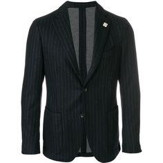 Lardini pinstripe single-breasted blazer (2.505 BRL) ❤ liked on Polyvore featuring men's fashion, men's clothing, men's sportcoats, blue and men's sportcoats and blazers