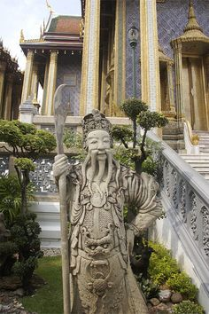 The statue is in Wat Pra Kaew in Bangkok and was a gift from a Chinese ruler to the King of Siam.   13.751712°N  100.492418°E