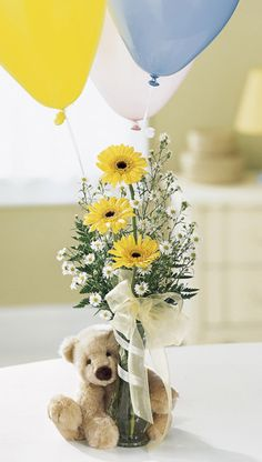 Baby Shower Flower Arrangement with Teddy Bear {flowers by: Medford Florist and Boutique}