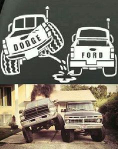 This is funny but would be better if it was a Chevy on top of a Ford!
