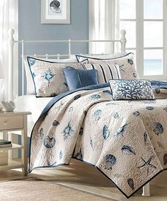 Gorgeous Blue Beach Themed Quilt Set- guest room