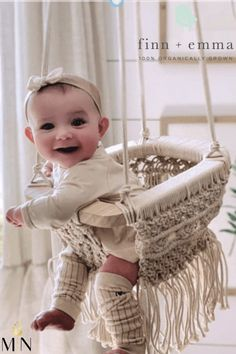 The Finn + Emma Macrame Swing is handmade by artisans in India. It will keep your little one entertained and look beautiful in any room in your home or in your yard! Macrame Design, Cute Baby Pictures, Baby Gear, Fingerless Gloves, Arm Warmers, Cute Babies, Organic Cotton, Nursery, Entertaining