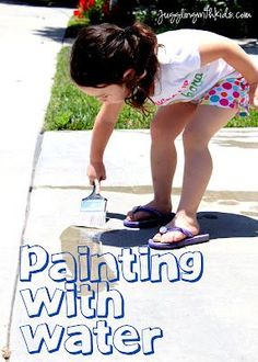 This is a great activity to do as the temperatures heat up.  Great summer activity!  Let the kids paint with water.