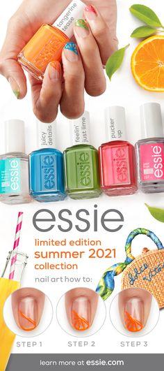 Essie Nail Polish, Nail Manicure, Diy Nails, Nail Polish Colors, Summer Nail Polish, Fancy Nails, Pretty Nails, Cute Nails, Nail Art