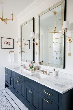 Here are the 12 Design Tips to Make a Small Bathroom Better from Install a c. Chic up your bathroom with gold glam details and classic navy touches care of Timeless Bathroom, Modern Master Bathroom, Beautiful Bathrooms, Small Bathroom, Bathroom Vintage, Guest Bathrooms, Bathroom Mirrors, Minimalist Bathroom, Master Bedroom