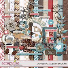 Coffee Digital Scrapbooking Kit | ScrapVine