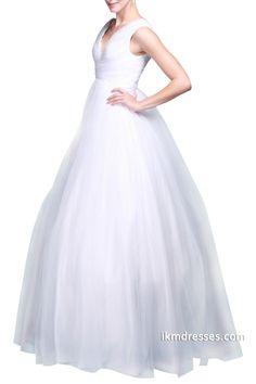http://www.ikmdresses.com/Women-V-Neck-Sleeveless-Floor-Length-Zipper-Back-White-Ball-Gown-Bridal-Dress-Wedding-Dresses-p88717