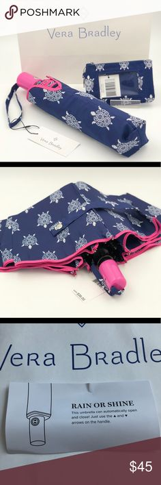 "Vera Bradley Turtles Umbrella & ID Card Case Auto open umbrella. ID Card Case approx 3x5"" Vera Bradley Bags"