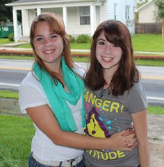 Fleegle sisters Nikki and Katey off to the first day of school.