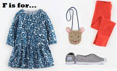 MiniBoden Back to School Look #8:  Chambray Tunic, Leggings, Canvas Sneakers, Mouse Bag