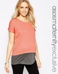 ASOS Maternity NURSING T-Shirt With Double Layer In Baby Rib at asos.com #shirt #offduty #maternity #women #covetme