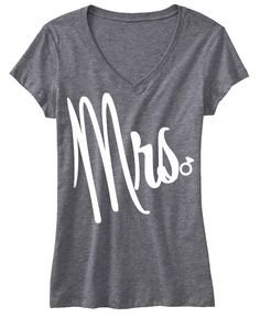 MRS Shirt GLITTER #Bride #Shirt, Gray V-neck -- By #NobullWomanApparel, ON SALE for only $20.69! Click here to buy http://nobullwoman-apparel.com/collections/wedding-bridal-shirts/products/mrs-bride-shirt-gray-v-neck