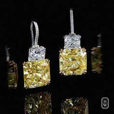 A radiant-cut diamond and an extraordinary fancy intense yellow diamond in this breathtaking two-drop earrings by Harry Winston Harry Winston, Unique Diamond Rings, Diamond Jewelry, Diamond Earrings, Drop Earrings, Aquamarine Earrings, Boho Jewelry, Fine Jewelry, Jewelry Design