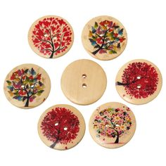 Natural Tree Pattern Round 2 Holes Natural Wooden Buttons Scrapbooking Sewing Accessories For Craft  Random Mixed 3cm 20PCs