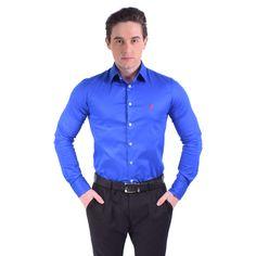Kit 2 Camisas Social Estampada Azul e Vermelho