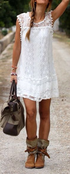 Cheap dress bachelorette party, Buy Quality dresses evening party directly from China dress up girls for kids Suppliers: 2015 Summer Women Vestidos Boho Embroidered Floral Bohemian Sexy Casual White Lace Crochet Beach Wear Mini Party Dres Bohemian Chic Fashion, Bohemian Mode, Bohemian Style, Ibiza Style, White Bohemian, Beach Fashion, Modern Bohemian, Fashion Mode, Look Fashion