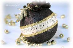 Black and Gold Ornament - Black Christmas Ball - O Holy Night Black Christmas Decorations, Black Christmas Trees, Christmas Tree Themes, Christmas Holidays, Christmas Wreaths, Sheet Music Ornaments, Music Christmas Ornaments, Sheet Music Crafts, White Ornaments