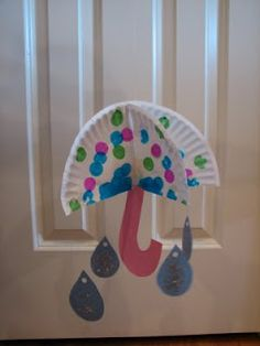 Make a 3D umbrella with raindrops craft. So sweet! Whoo, hoooo!