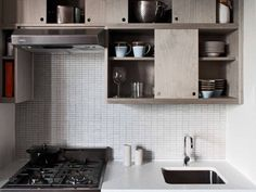 Small Kitchen? Sliding Cabinet Doors Save Space — Kitchen Inspiration ~ A very good idea ~