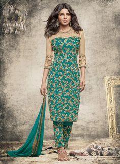 Priyanka Chopra Georgette Churidar Designer Suit