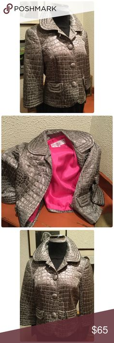"""Stunning Metallic Trina Turk Jacket Love this💕 amazing metallic jacket in a snakelike design wit hot pink lining. Bold yet approachable. a re-posh. Just never wore it's slightly big so it's time to let another posher enjoy. Approx 17.5"""" pit to pit 19.5"""" Long EUC Trina Turk Jackets & Coats"""