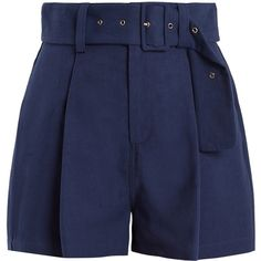 Sea Pleated-front cotton-blend canvas shorts (620 BRL) ❤ liked on Polyvore featuring shorts, bottoms, short, pants, blue, loose high waisted shorts, navy high waisted shorts, navy waist belt, loose fitting shorts and navy shorts