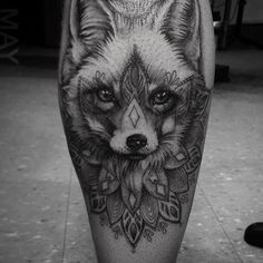 You know you're a sweet little love maker...Foxy - #mandala #dotwork #linework #fox #foxtattoo #blackandgrey