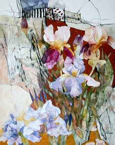 """Shirley Trevena  """"Irises by the Rock""""  Watercolour with oil pastels and colour pencil"""