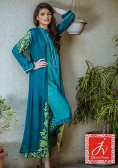 Pakistani Designer Dresses - Lowest Prices - Ferozi Chiffon with Machine Embroidered Gown by JV Eid Collection 2015 - Dresses - Latest Pakistani Fashion Color. Latest Pakistani Fashion, Pakistani Outfits, Ethnic Fashion, Asian Fashion, Pakistani Designers, Pakistani Dress Design, Desi Clothes, Indian Dresses, Indian Wear