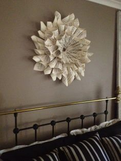 music sheet wall art. roll up the sheets, hot glue them and hang to the wall.