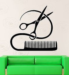 Vinyl Decal Barber Tools Wall Sticker Hairstyle Hair Stylist Hair Salon Beauty…