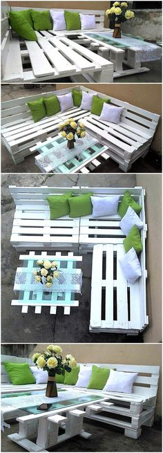 Creative Ways to Repurpose & Reuse Old Pallets Give your place graceful look by re-transforming wood pallets into mesmerizing pallet sofa and table. Lavish your place in a cheap method. White color used for pallet sofa is giving fresh look to environment. Pallet Garden Furniture, Sofa Furniture, Furniture Ideas, Garden Pallet, Inexpensive Furniture, Furniture Websites, Furniture Layout, Rustic Furniture, Pallet Furniture White