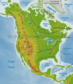 North America Physical Map Freeworldmaps Net In South Printable On Within Interactive Features Of The United States 5th Grade Geography, Us Geography, North America Geography, North America Map, North American Plate, San Andreas Fault, Fantasy World Map, Map Skills, Places