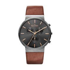 Anillo de acero inoxidable para hombre-reloj cronógrafo de cuarzo cuero SKW6106