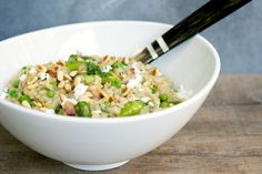 Asparagus, Pea and Pancetta Brown Rice Risotto