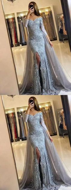 Fashion Mermaid Off-The-Shoulder Long Sleeves Split Front Lace Long Prom Dress P0157#promdresses #longpromdresses #2018promdresses #lacepromdresses#promdress#promdresses#2018newstyles#fashions#styles#hiprom