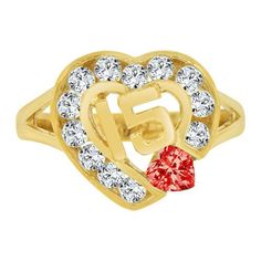 14k Yellow Gold, 15 Anos Quinceanera Heart Ring Cubic Zirconia Jul Birthstone (R124-107)