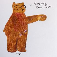 Drawing, Illustration, Instagram, Bears, Breakfast, Sketches, Illustrations, Drawings, Draw