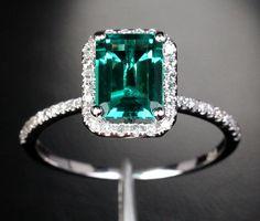 2.56ct Emerald Engagement Ring Wedding Ring Diamond por TheLOGR