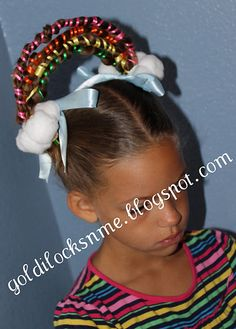 Crazy hair Day at school.  We did this using different colors of pipe cleaners wrapped around the braids, then used white around the bases, covering with unrolled cotton balls using bobby pins and gel dabbed on remaining cotton balls. Held most of the day. Awesome!