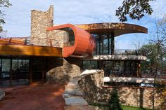 Painting of Amazing Natural Curved House Architecture in Wisconsin