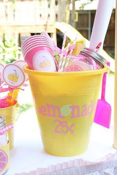 lemonade stand kit - What a cute idea for a pink lemonade party!