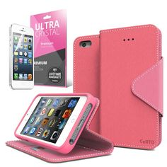 [ iPhone 5C Case] Cellto iPhone 5C Case Wallet Flip Type with HD Screen Protector [Slim Fit] [Hot Pink] Diary Cover /w ID Slot Top Quality with Premium PU Leather and TPU Dual Layer - EPI Style. Lifetime Warranty for damaged or defective product with free replacement!. Free Premium HD Screen Protector. One full-sized bill fold for checks, notes or cash. Double sided magnetic enclosure (prevents the flap from sticking out during use!. Three ID slots for your cards.