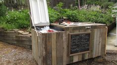 Before you get rid of that old, broken refrigerator, think of what you could do with it—like turning it into this interesting, rustic cooler. Old Refrigerator, Outdoor Storage, Storage Boxes, Wood Projects, Creative Ideas, Wooden Projects, Woodworking Projects, Woodworking, Outside Storage