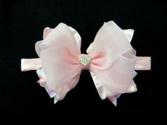Baby-headbands-valentines-pinkbowtique- pink ruffle and chiffon and Valentine's Day conversation heart printed ribbons.