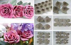 Preciosas rosas artificiales hechas con cartones de huevos