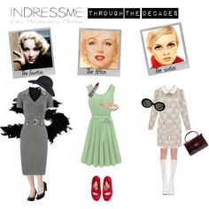 Indressme through the decades by is-rid on Polyvore featuring moda, jazz, TIKI, Polaroid, Bourjois, vintage inspired, sixties, twiggy, marlene dietrich and fifties